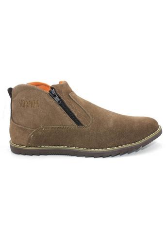 midzone brown Suede Leather High Cut MI949SH0RO5XMY_1