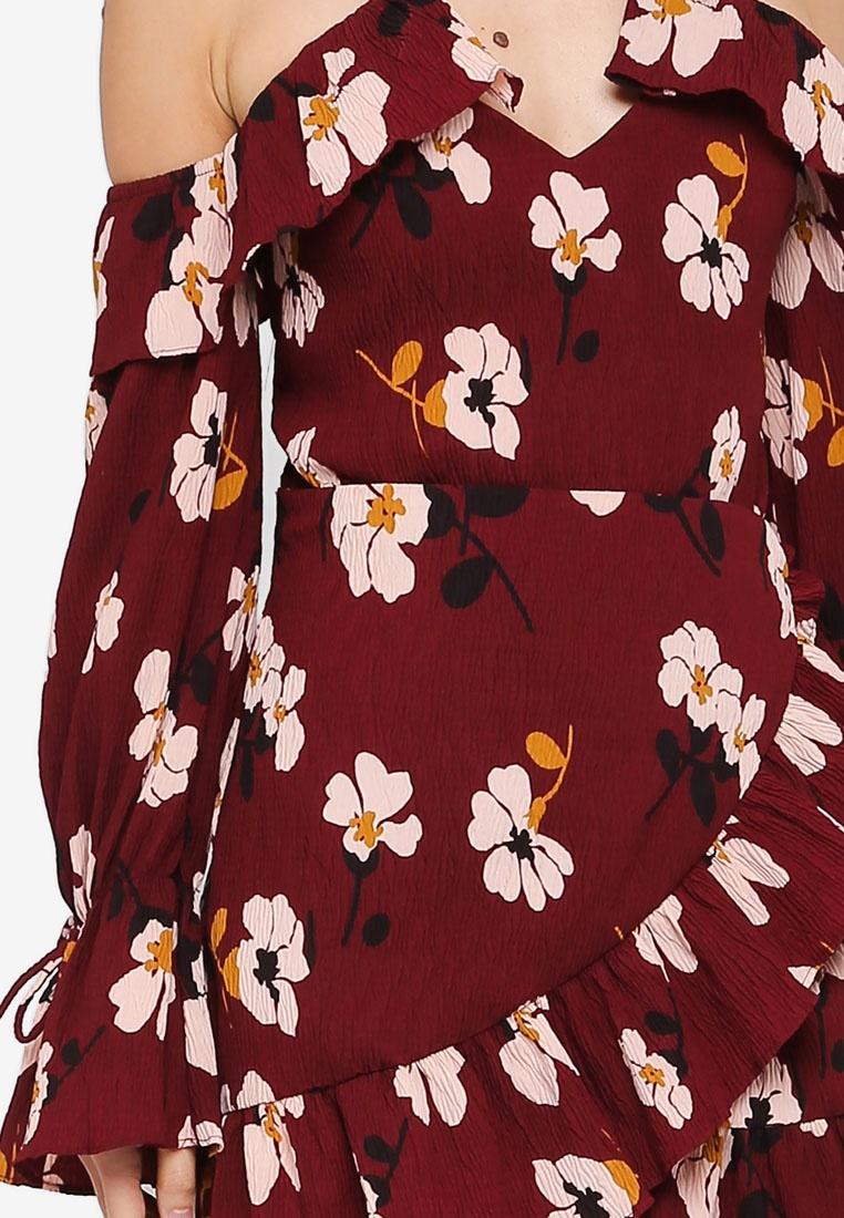 INDIKAH Floral Print Wine Shoulder Dress Ruffle Cold wUq6T