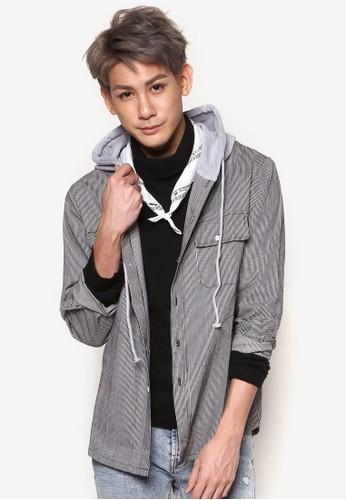 抽繩連帽領條紋牛津長袖襯衫, 服飾, 外esprit bag套