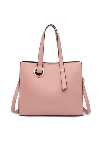 Lara pink Women's Elegant Water-proof Wear-resistant Leather Zipper Tote Bag Shoulder Bag (3-piece Set) - Pink 925C7ACF2CFF2EGS_1