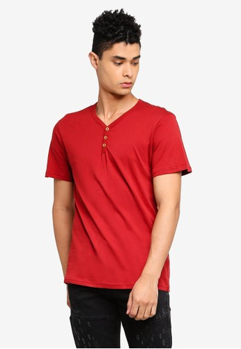 Cotton On red Essential Henley T-Shirt 8D123AA8F8674FGS_1
