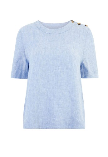 MARKS & SPENCER multi Pure Linen Button Detailed Blouse E6C7AAA4F67F91GS_1