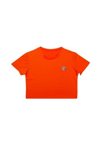 DRUM orange BEAR PRINT CROP TEE- ORANGE 9A62AAA6698327GS_1