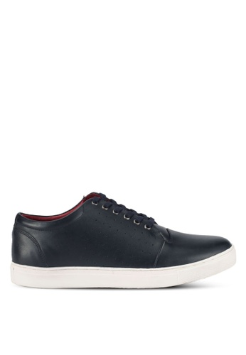 ACUTO blue and navy Leather Lace-Up Sneakers AC283SH0SL7NMY_1