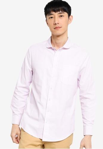 ZALORA BASICS white and pink Regular Fit Club Collar Shirt E3165AA3C85506GS_1