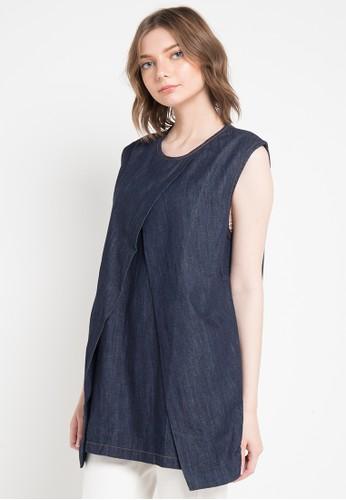 Miyoshi Josei multi Blouse Jeans Sleeveless 6BF26AAF946E8BGS_1