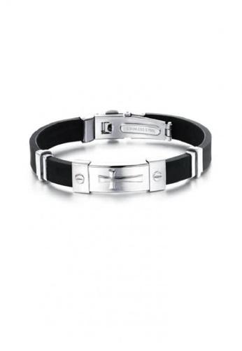 ADORA silver Stainless Steel Silicon Bracelet AD365AC2V0JDHK_1