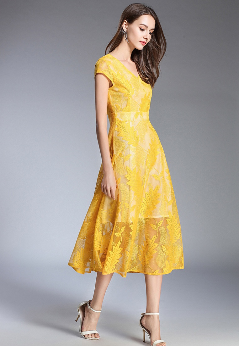 Yellow Piece A060418YE Sunnydaysweety Yellow One flared Short 2018 Neck Lace Sleeve Dress New V zHnxPO7