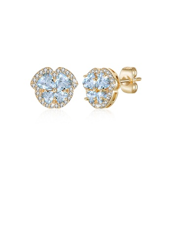 Glamorousky blue Fashion Plated Gold Flower Stud Earrings with Light Blue Austrian Element Crystal F4B1EAC3587D80GS_1