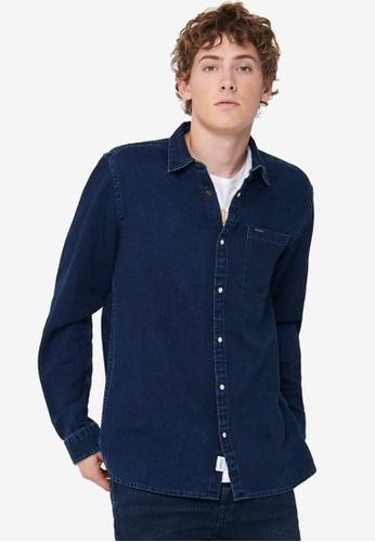 Only & Sons blue Storm Denim Shirt 575AAAA335E201GS_1