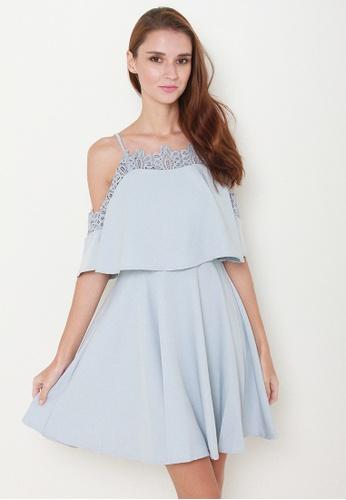 Leline Style blue Nasha Cold Shoulder Dress LE802AA62JRDSG_1