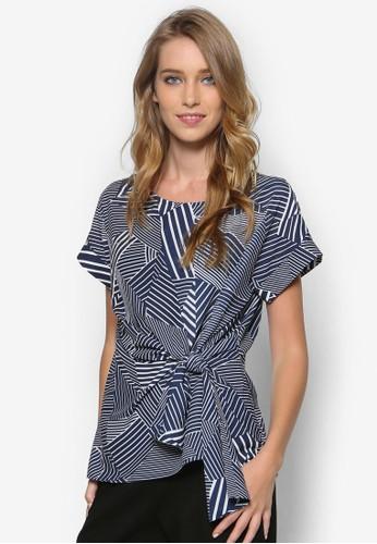 幾何條紋側抓褶上衣, 服飾,zalora taiwan 時尚購物網 上衣
