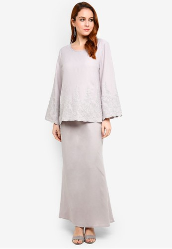 BYN grey Baju Kurung Modern 82D49AACDF05F3GS_1