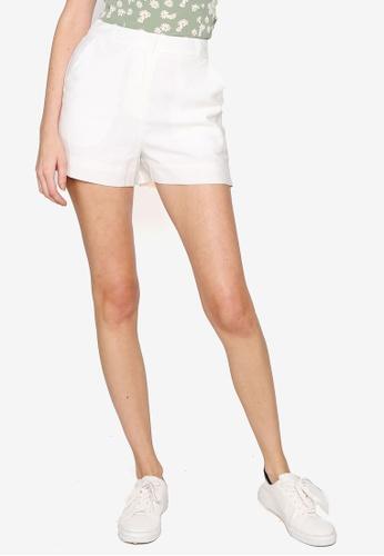Hopeshow white Loose Cuff Linen Shorts 8FA5BAA70F0FDDGS_1