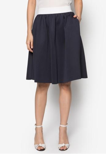 簡約傘擺及膝裙, zalora 手錶服飾, 及膝裙