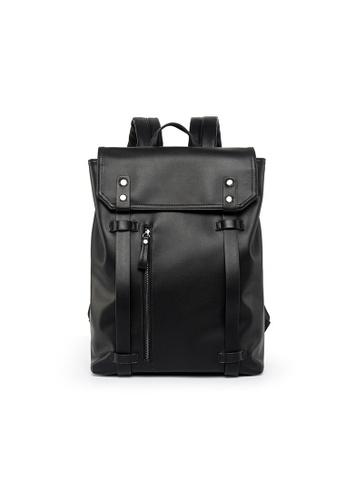 Lara black Men's Belt Flap Backpack 69479ACB721998GS_1