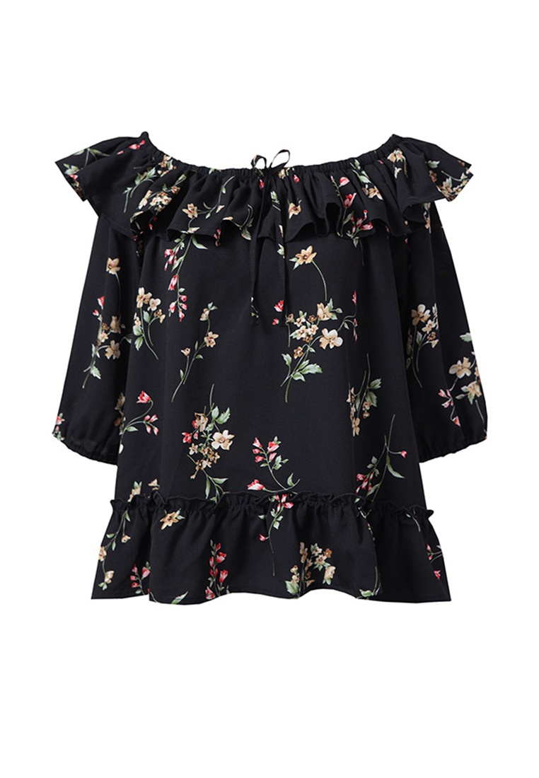 Floral Top Shoulder Yoco Black Off 18vFqg