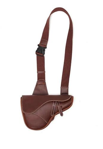 Lara brown Plain Flap Belt Bag - Brown F4F2EACC3954D9GS_1