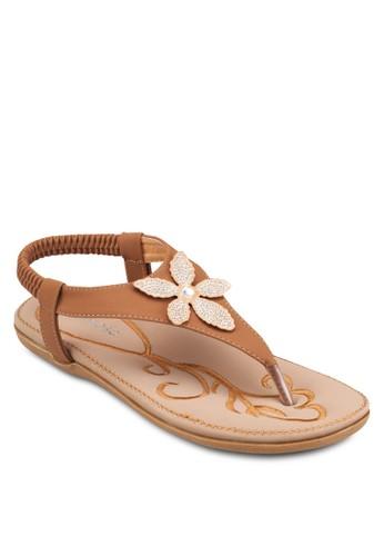 花esprit 尖沙咀飾彈性踝帶涼鞋, 女鞋, 涼鞋
