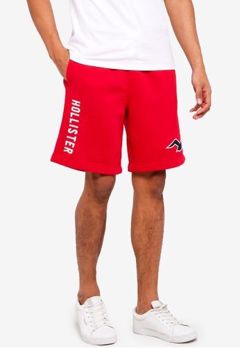 Hollister 紅色 Logo抽繩棉短褲 1AACAAA4A1A774GS_1