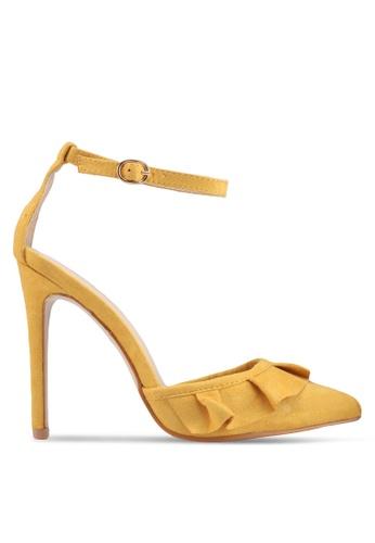 Public Desire yellow Habit Frill Detail Pointed Toe Heels 978B0SH86870DEGS_1