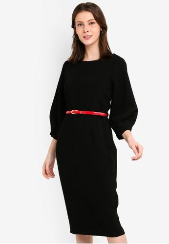 CLOSET 黑色 褶飾袖鉛筆洋裝 150FBAA920D9A7GS_1