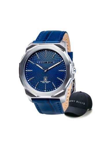 Perry Ellis blue Perry Ellis Decagon Men 46mm Quartz Watch 05001-01 with Perry Ellis Cap BF06DAC90B760DGS_1