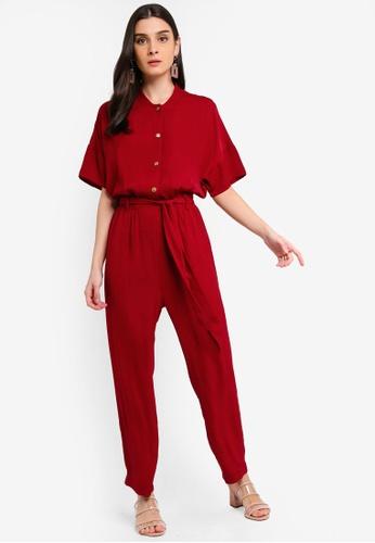 ZALORA 紅色 綁帶短袖連身褲 A3EF4AAA2653C2GS_1