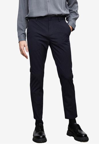 Urban Revivo blue Pinstripe Trousers B220AAA8EA1104GS_1