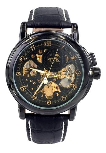 Chronomart black Men's Professional Dress Skeleton Dial Automatic Leather Strap Wrist Watch CH783AC00XJVPH_1