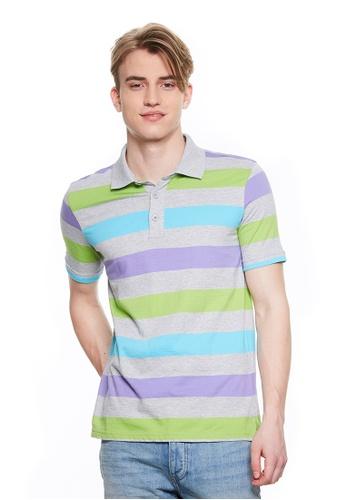 United Colors of Benetton grey Striped Polo Shirt CD77EAA5ED653FGS_1