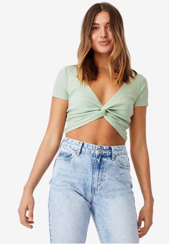 Supre green Cynthia Twist Front Short Sleeve Top D0D49AAF847777GS_1
