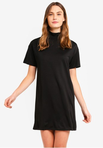 ZALORA BASICS black Basic Polo Neck T-Shirt Dress 1BBD3AA811D08CGS_1