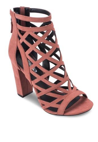 Eriel-A zalora退貨鏤空露趾粗跟踝靴, 女鞋, 鞋
