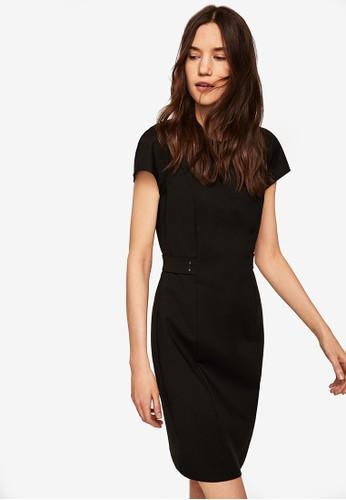 MANGO black Metallic Appliqué Cotton Dress 6180EAA8E1F55FGS_1