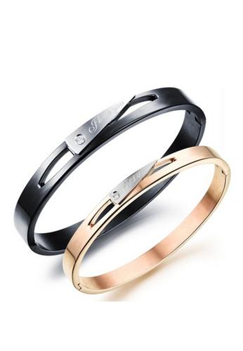 Trendyshop black and multi and gold Couple Bangle Set TR116AC2VR11HK_1