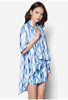 Dipped Hem Printed Kimono Cardigan