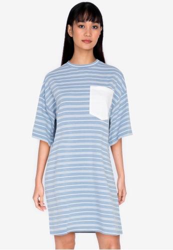 ZALORA BASICS multi Contrast Pocket Oversized T-shirt Dress 91761AAB7BD4D5GS_1
