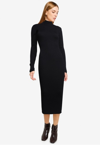 MISSGUIDED black Tall Roll Neck Ribbed Midi Dress D2F16AA32A35F2GS_1
