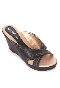 Cross Strap Wedge Slides
