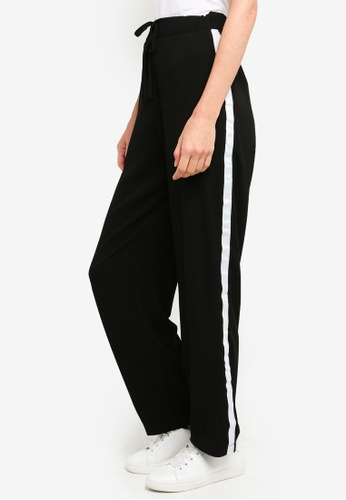 Brave Soul black Woven Trousers With White Band Down Side Seam 5EA01AAF17F12FGS_1
