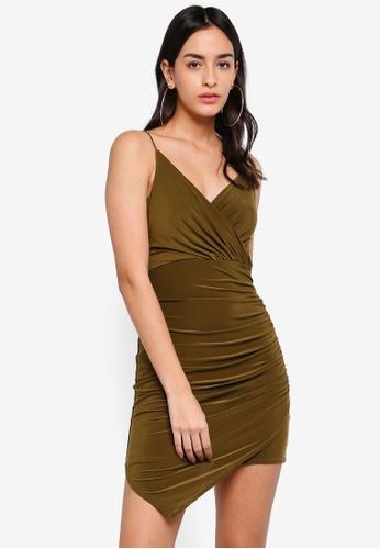 MISSGUIDED 綠色 細肩帶Slinky Wrap 緊身洋裝 BD58CAA3B6FC37GS_1