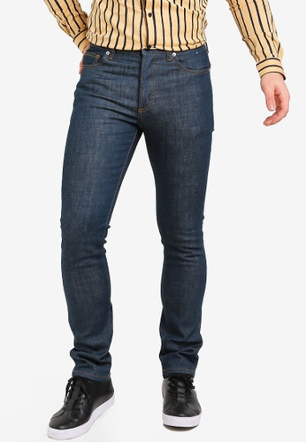 Topman navy Raw Stretch Slim Jeans 30594AAC6639C4GS_1