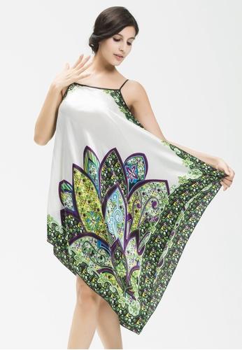 SMROCCO white Elegant Ethnic Nightie Dress Sleepwear Lingerie L7016-W SM066US0RQY7MY_1