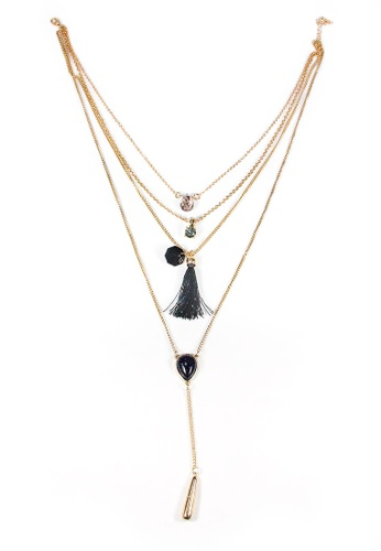 ASLLY black and gold Traces of Travel│Turquoise Multi-layer Beaded Necklace 974A7AC422946FGS_1
