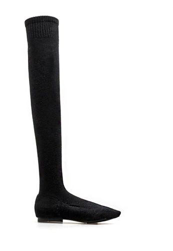 Twenty Eight Shoes black Socking Skinny Over Knee Boot 2239 151F4SH0FE7B58GS_1