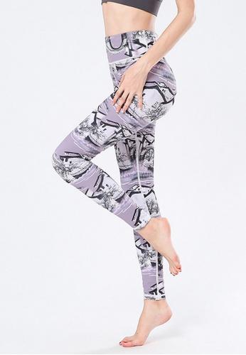 B-Code purple ZYG3021-Lady Quick Drying Running Fitness Yoga Sports Leggings -Purple 8E607AA9DC9D85GS_1