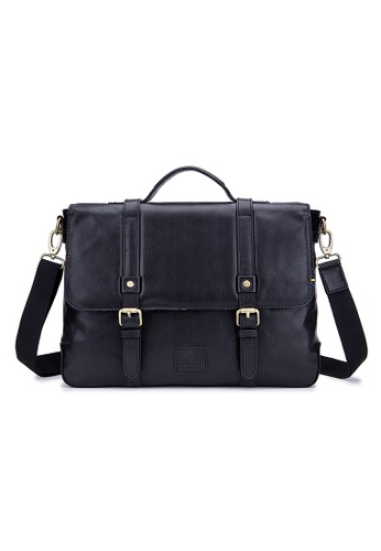 ENZODESIGN black ENZODESIGN Buffalo Leather Vintage Flapover Briefcase C6622AC9020F81GS_1
