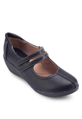 Mary Jane zalora退貨雙帶杏仁頭楔型鞋, 女鞋, 鞋