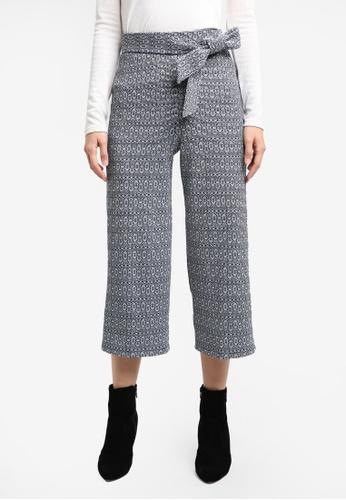 Miss Selfridge black Jacquard Tie Crop Wide Leg Trousers MI665AA0RXABMY_1